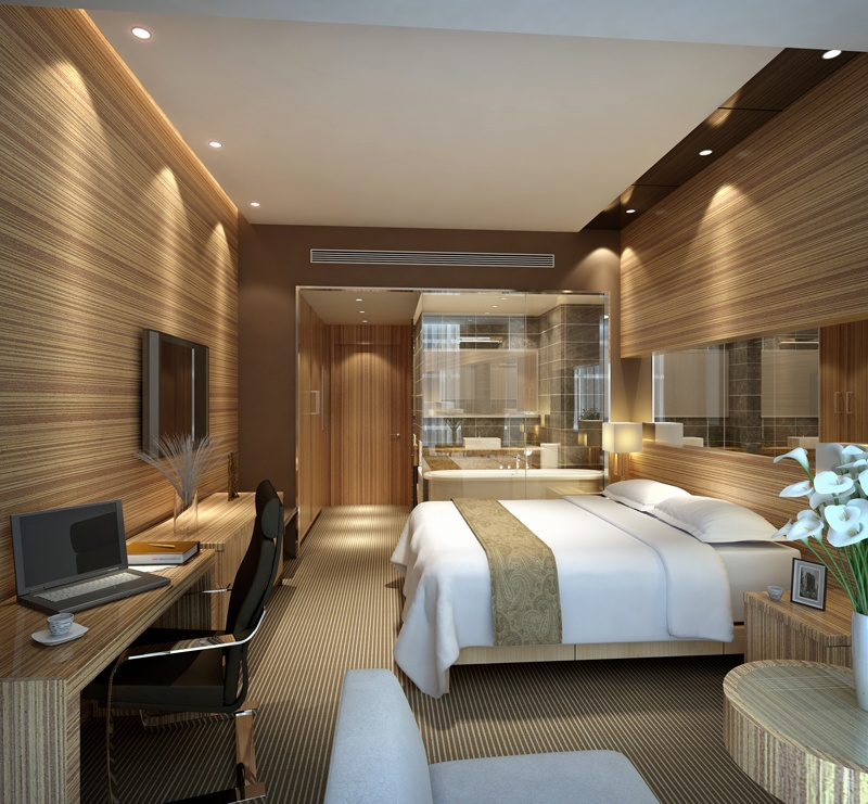 Modern hotel room vinyl wrapped in wood finish